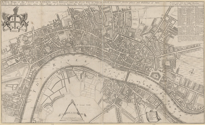 A New Mapp of the CITTY OF LONDON much Inlarged since the great Fire in 1666